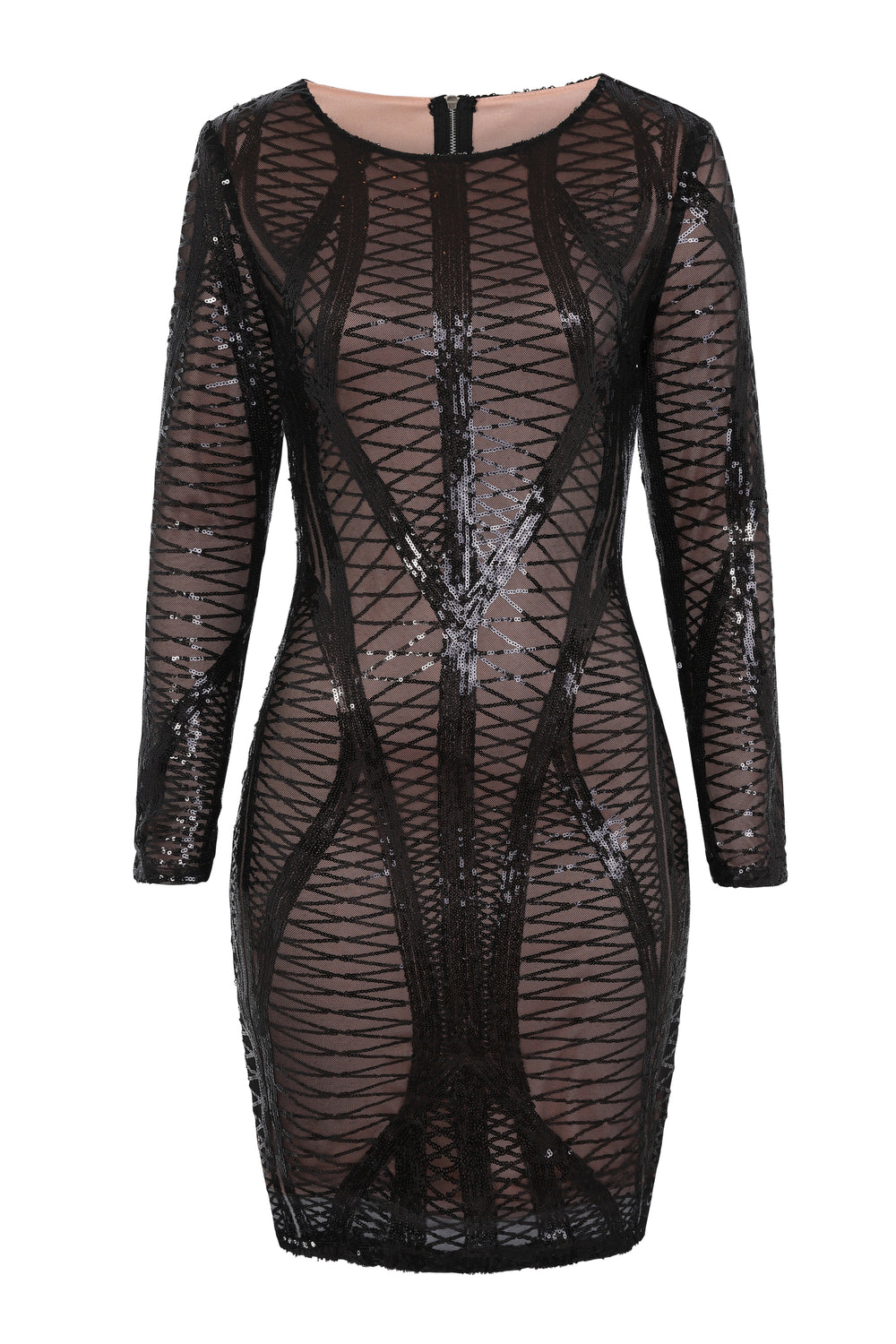 Hilton Luxe Black Dark Nude Cage Sequin Bandage Bodycon Illusion Dress