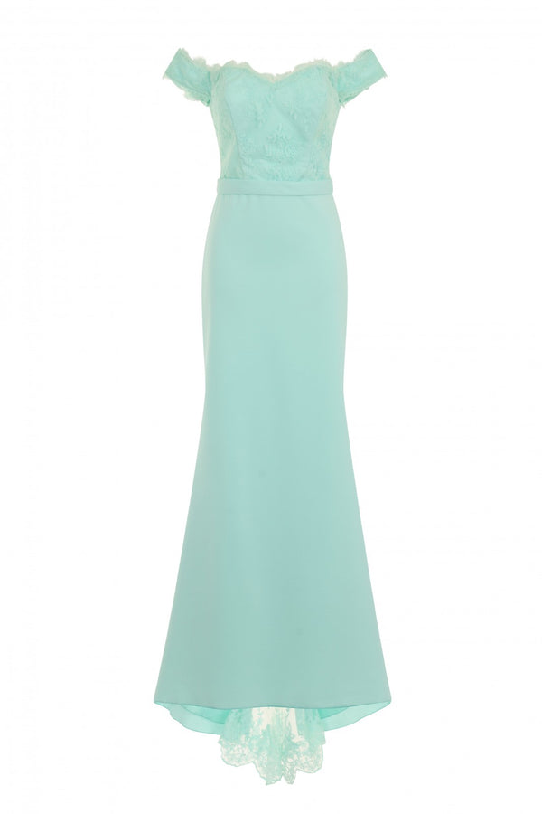Ruby Mint Off The Shoulder Lace Fishtail Maxi Dress