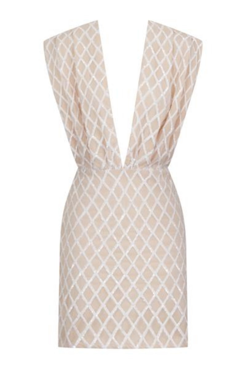 Diaz Nude V Plunge Geometric Sequin Bodycon Dress