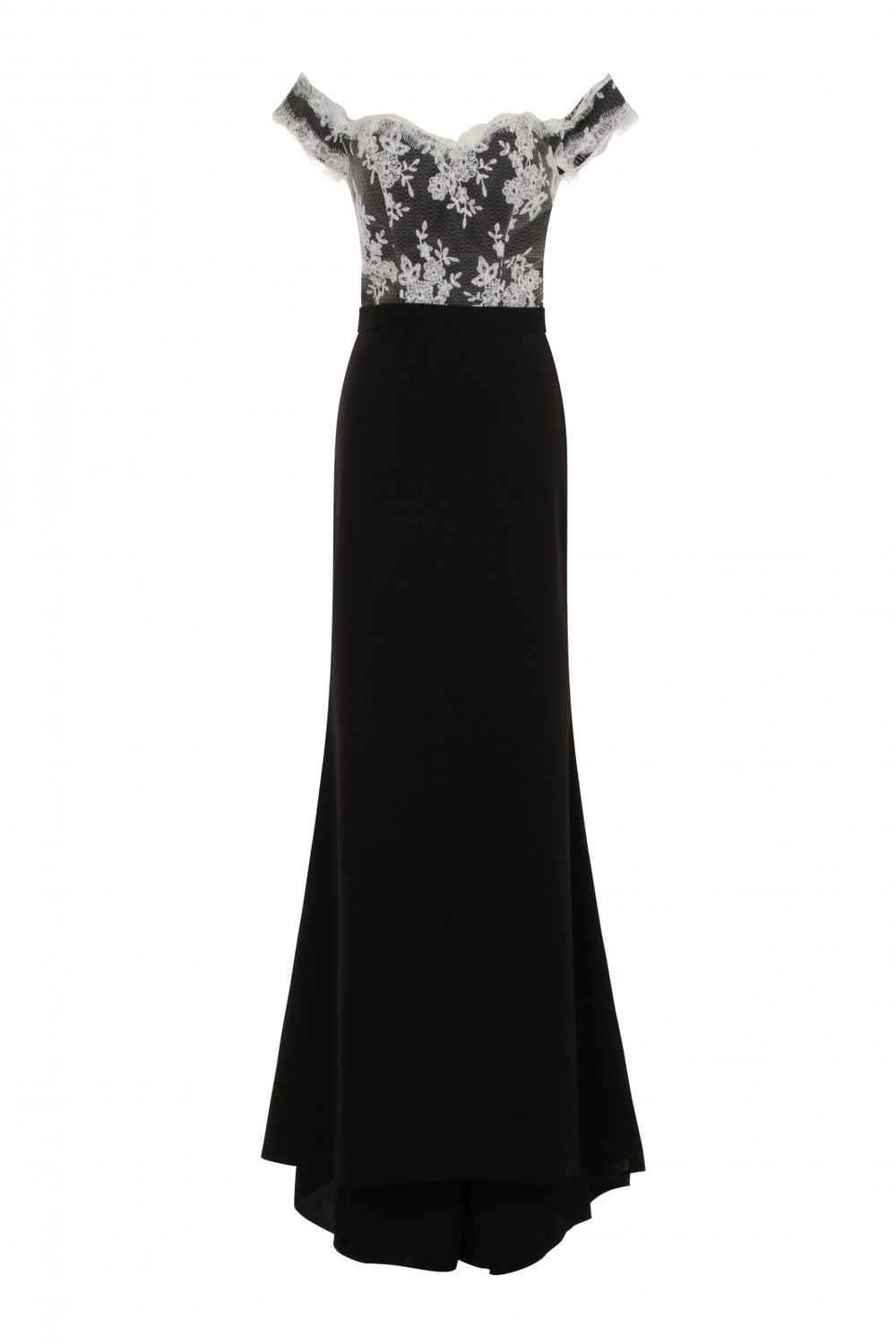 Ruby Black Off The Shoulder Lace Fishtail Maxi Dress