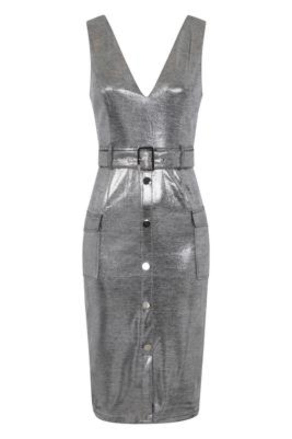 Fame Silver Metallic Tuxedo V Neck Tailored Midi Dress