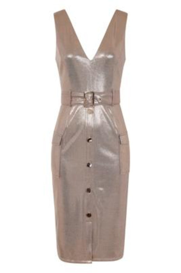 Fame Gold Metallic Tuxedo V Neck Tailored Midi Dress