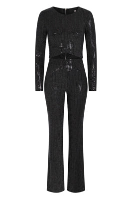 Center Stage Black Metallic Mirrored Sequin Co Ord Top Trousers Set