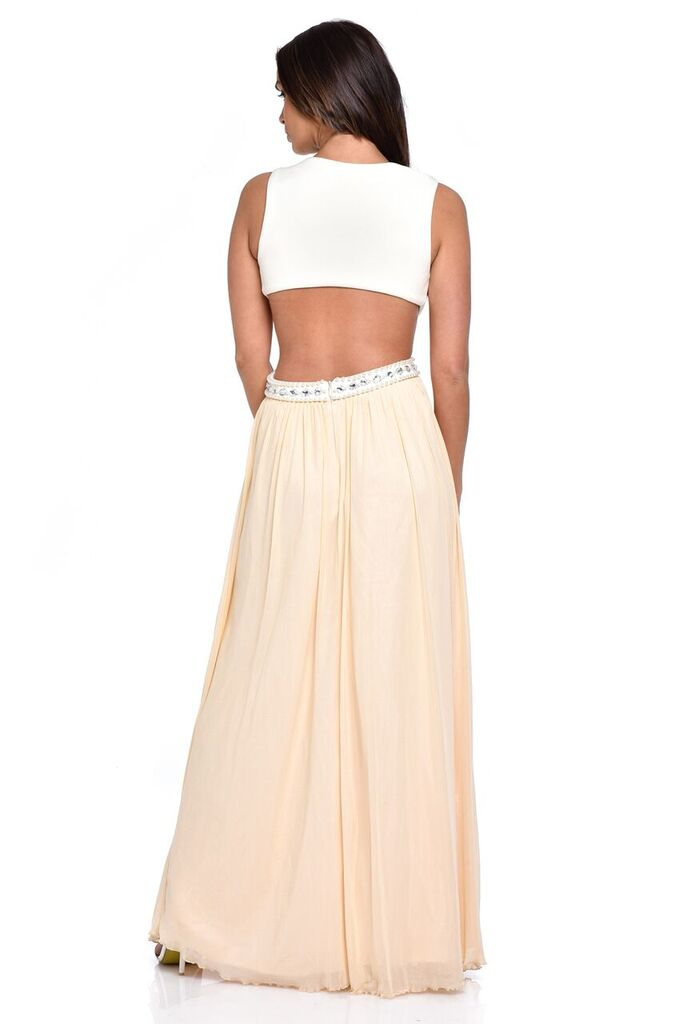 Laila Nude Cut-Out Waist Pearl Encrusted Grecian Goddess Maxi Dress