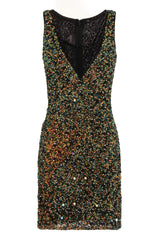 Anika Emerald Vip Handcrafted Full Beaded Sequin Fitted Dress