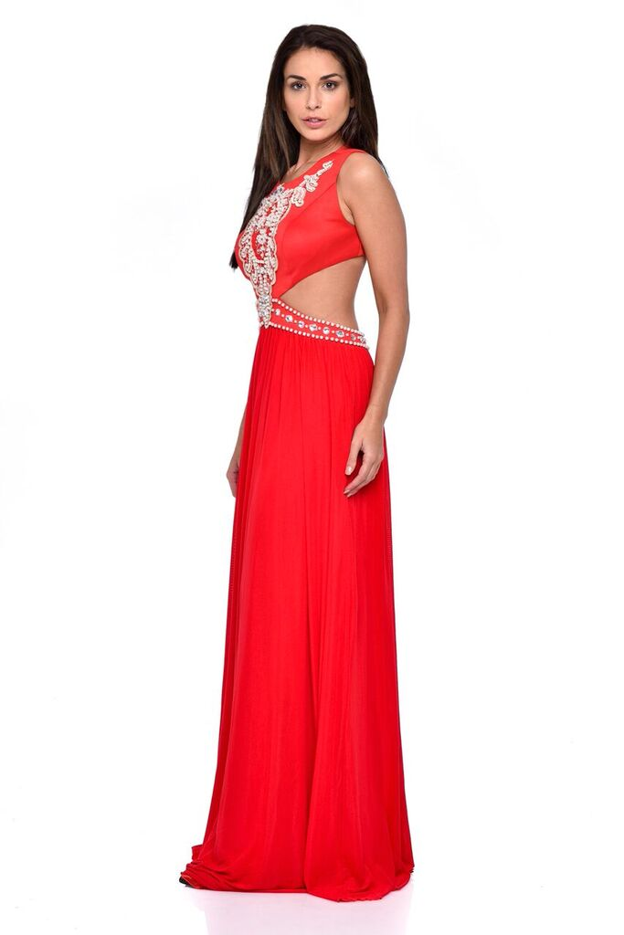 Laila Red Cut-Out Waist Pearl Encrusted Grecian Goddess Maxi Dress