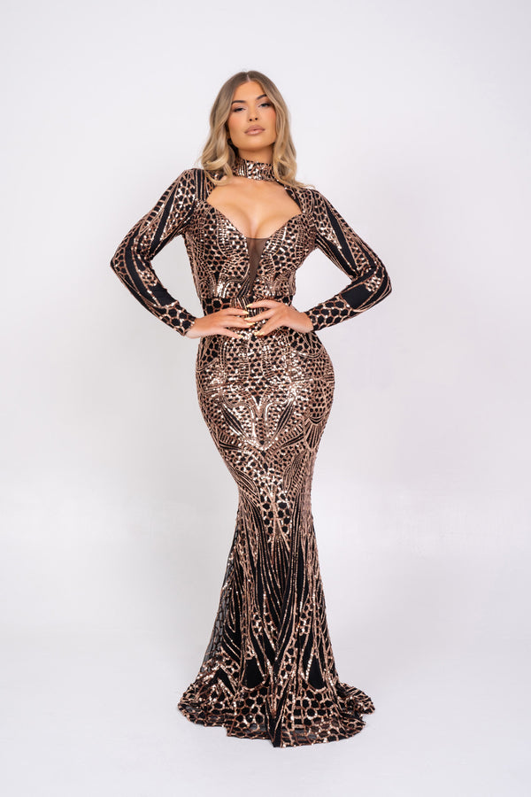 Amira Black & Rose Gold Luxe Sequin Emebllished Hourglass Illusion Maxi Fishtail Dress