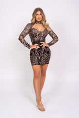 Habibti Black & Rose Gold Luxe Sequin Embellished Hourglass Illusion Dress