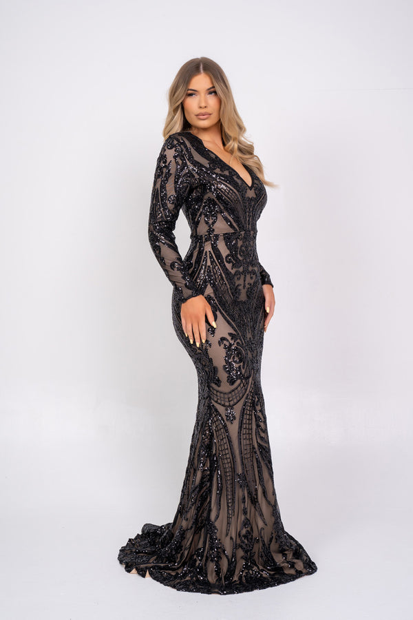 Arabella Black Luxe Tribal Vip Sequin Plunge Fishtail Dress