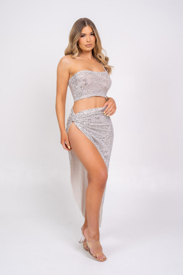 Believe It Silver Sequin One Shoulder Knotted Slit Skirt Two Piece Co ord Set