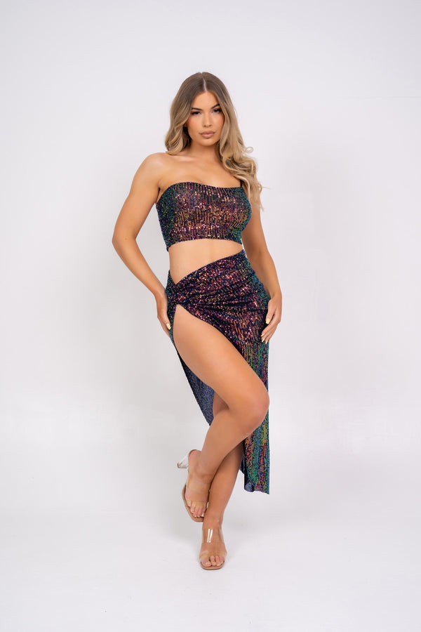 Believe It Black Green Multi Mermaid Iridescent Sequin One Shoulder Knotted Slit Skirt Two Piece Co ord Set