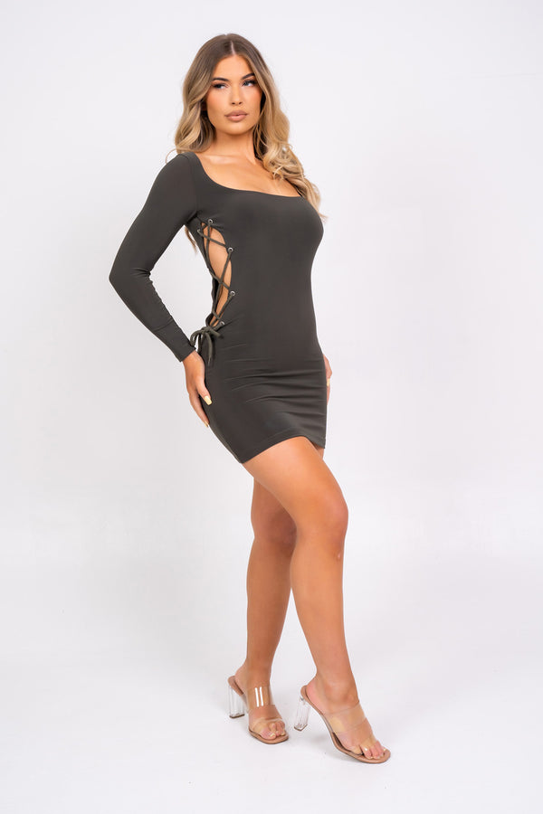Tie Me Down Khaki Open Lace Up Side Bodycon Seamless Mini Dress