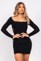 Tie Me Down Black Open Lace Up Side Bodycon Seamless Mini Dress