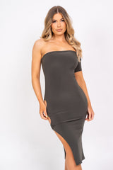The Baddest Khaki Slinky Bodycon One Shoulder Cut Out Slit Ring Dress