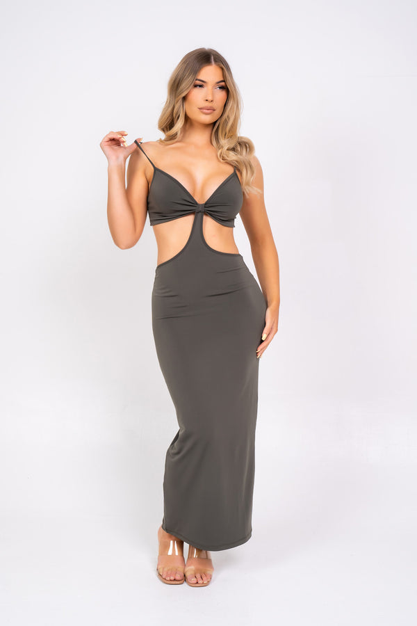 Over It Khaki Slinky Bodycon Strappy Cut Out Maxi Dress