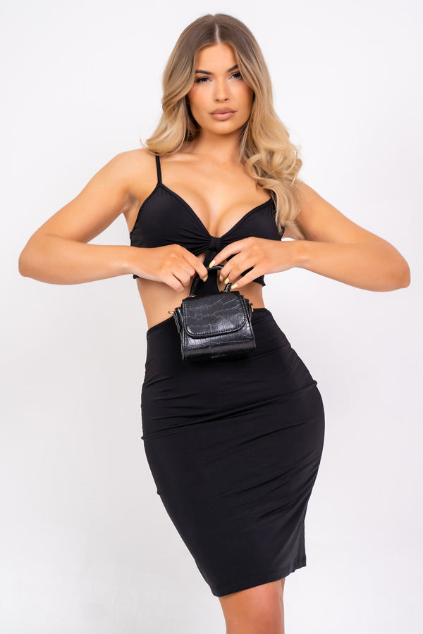 Try Your Luck Black Slinky Bodycon Strappy Cut Out Mini Dress