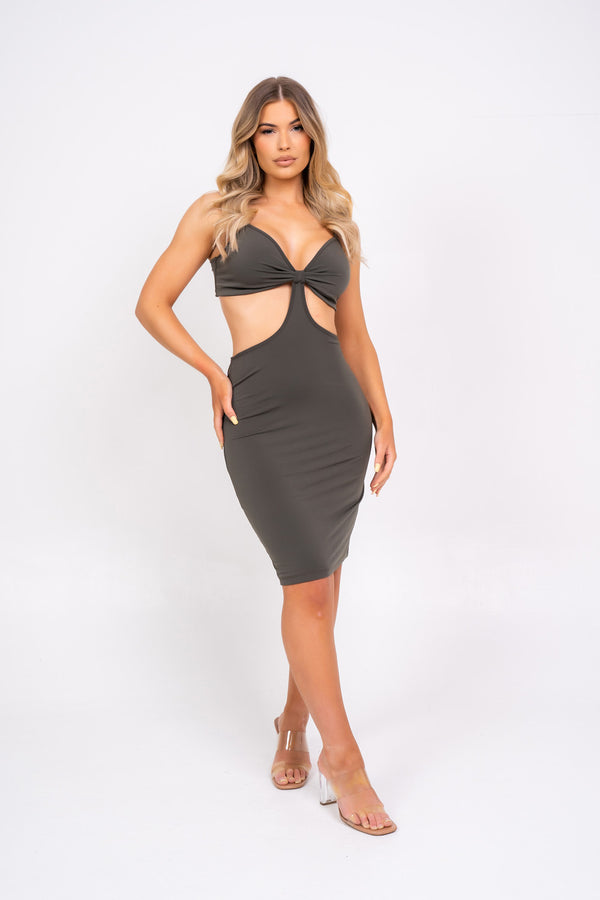 Try Your Luck Khaki Slinky Bodycon Strappy Cut Out Mini Dress