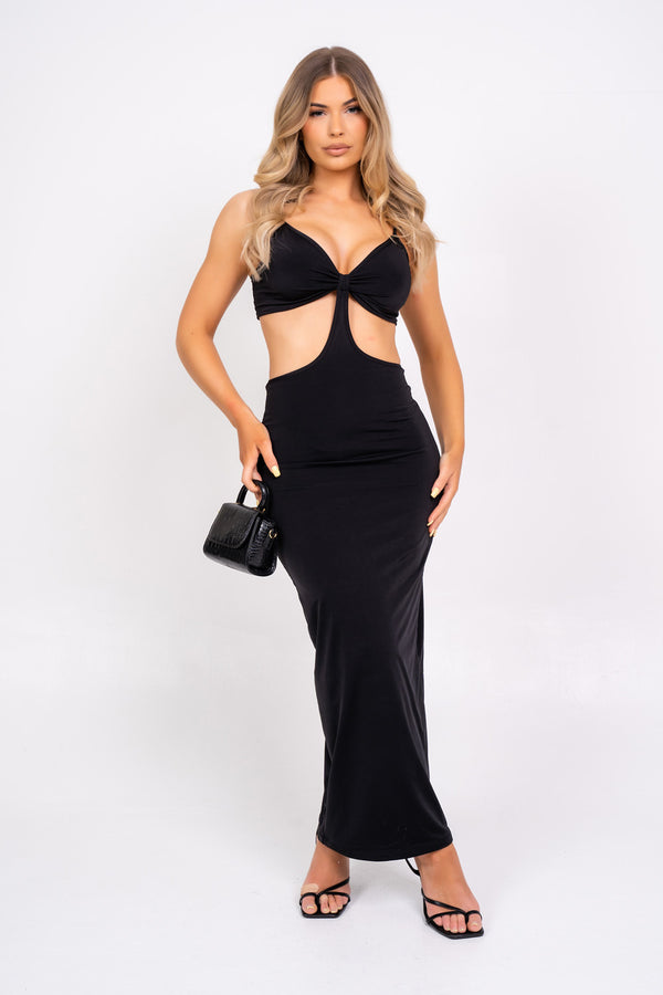 Over It Black Slinky Bodycon Strappy Cut Out Maxi Dress
