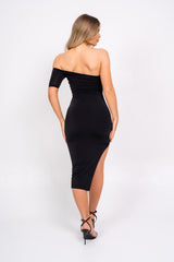 The Baddest Black Slinky Bodycon One Shoulder Cut Out Slit O Ring Dress