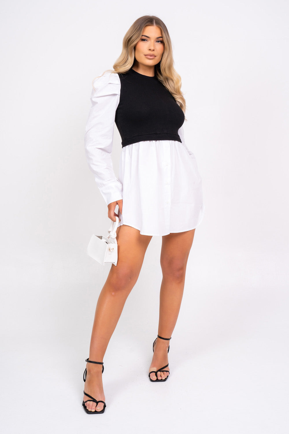 Best Behavior Overlay White and Black Puff Sleeve Shirt Dress