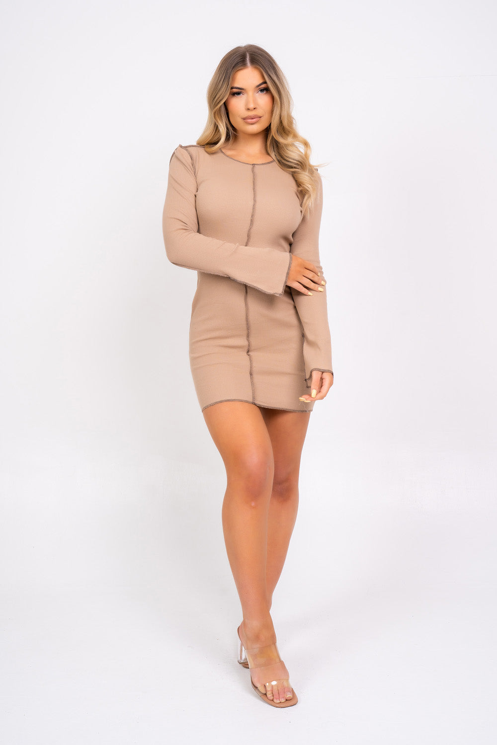 Material Girl Sand Inside Out Contrast Stitch Long Sleeve Mini Dress