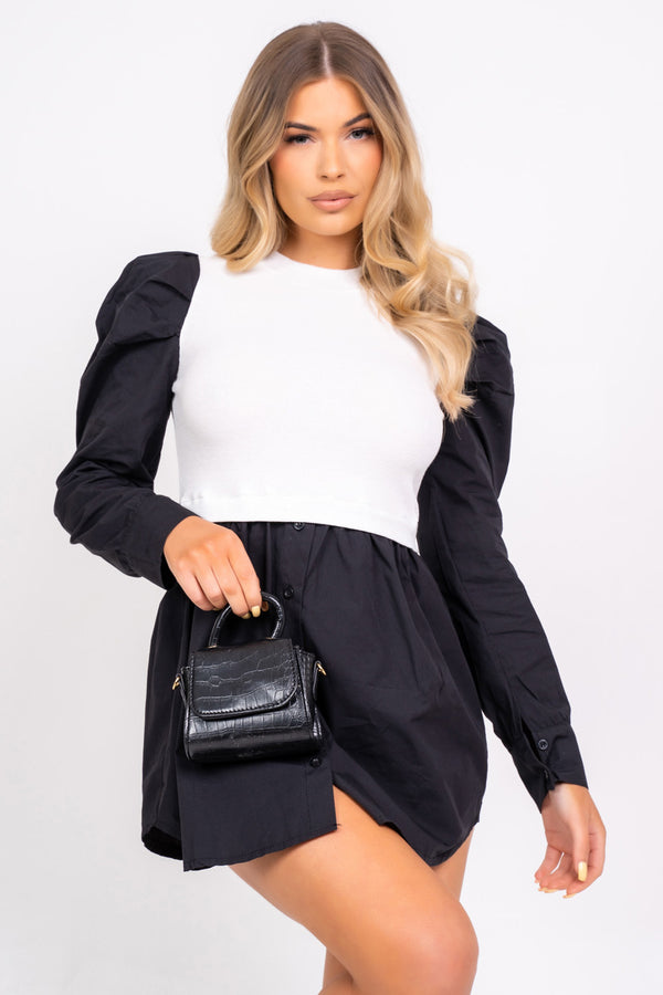 Best Behavior Overlay Black and White Puff Sleeve Shirt Dress