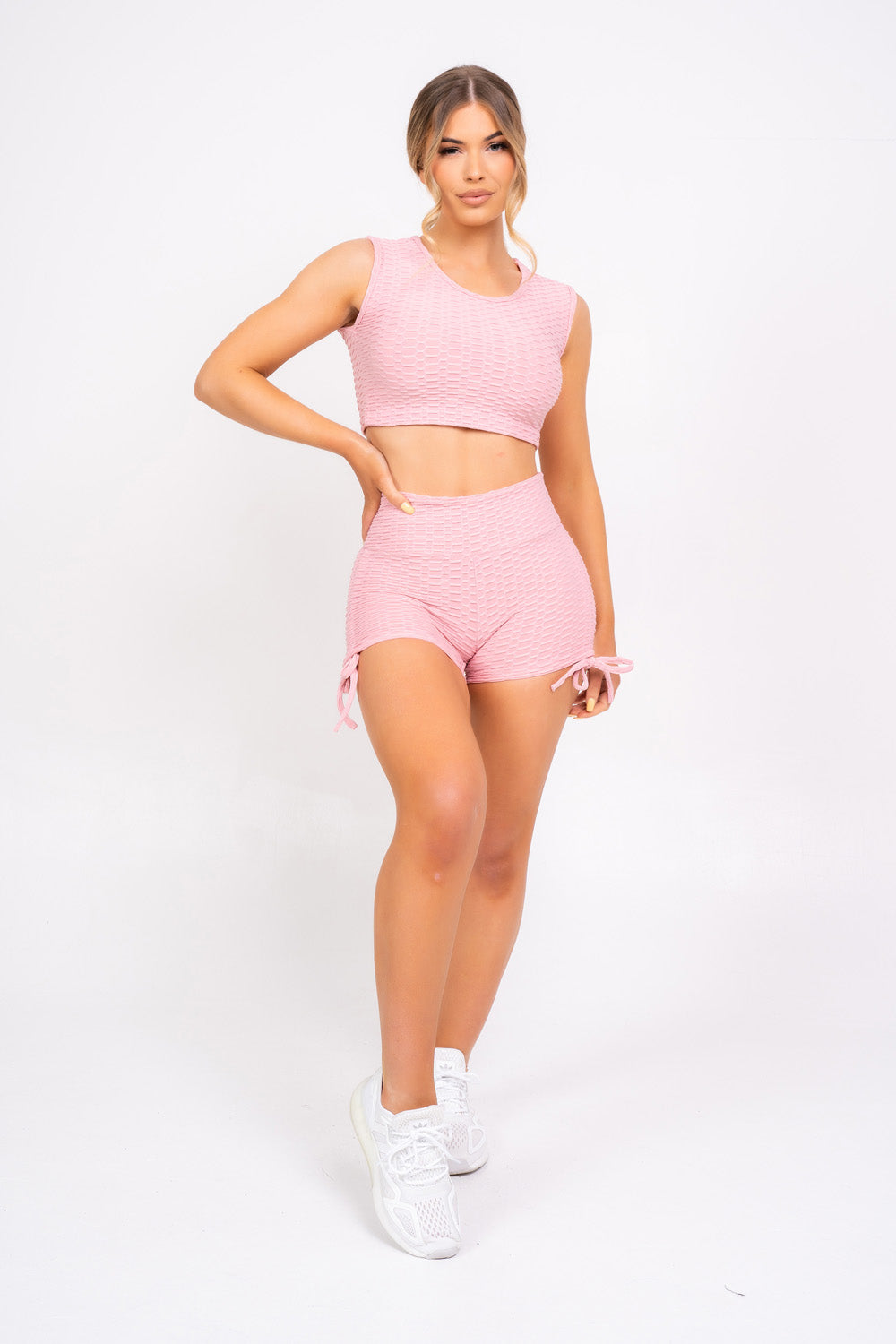 Frankie Blush Pink Honeycomb Sports Top & Shorts Co-ord Fitness Set