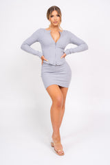 Feel The Vibe Grey Two Piece Cardigan Mini Skirt Co-ord Set