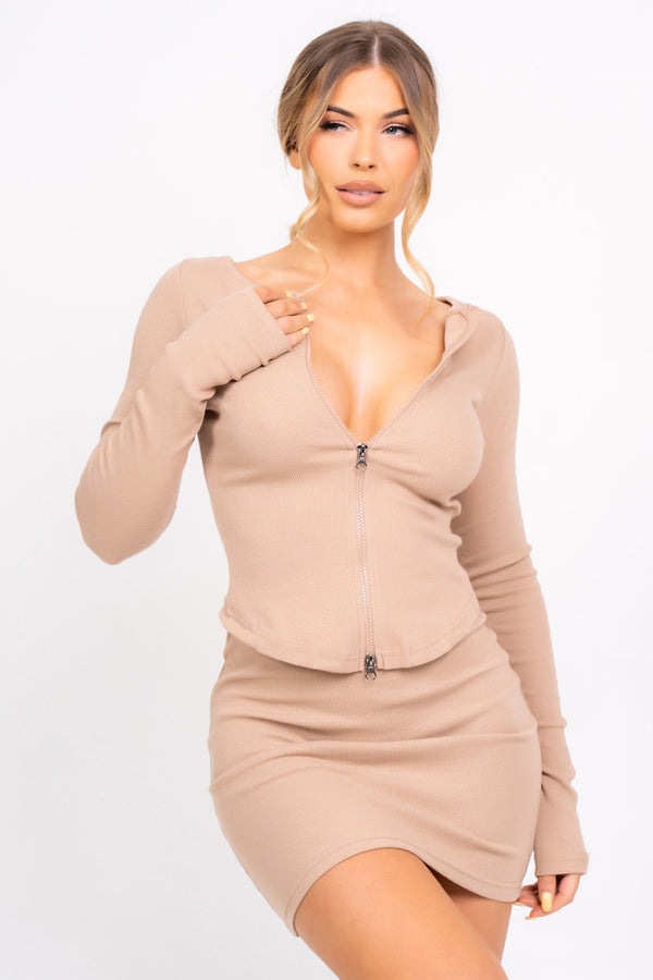 Feel The Vibe Nude Two Piece Cardigan Mini Skirt Co-ord Set