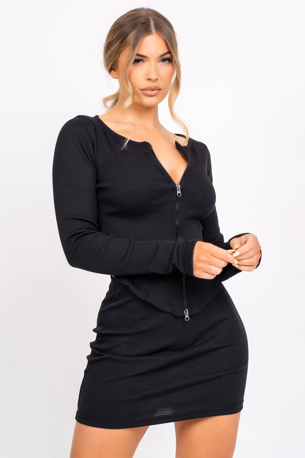 Feel The Vibe Black Two Piece Cardigan Mini Skirt Co-ord Set
