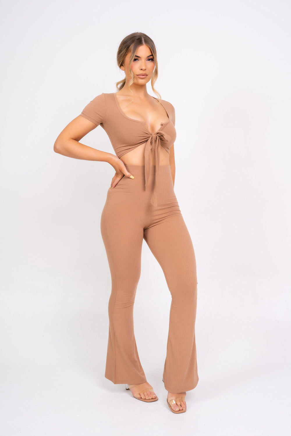 Never Endin' Sand Ribbed Two Piece Tie Front Top High Rise Flare Wide Trousers Co-ord Set
