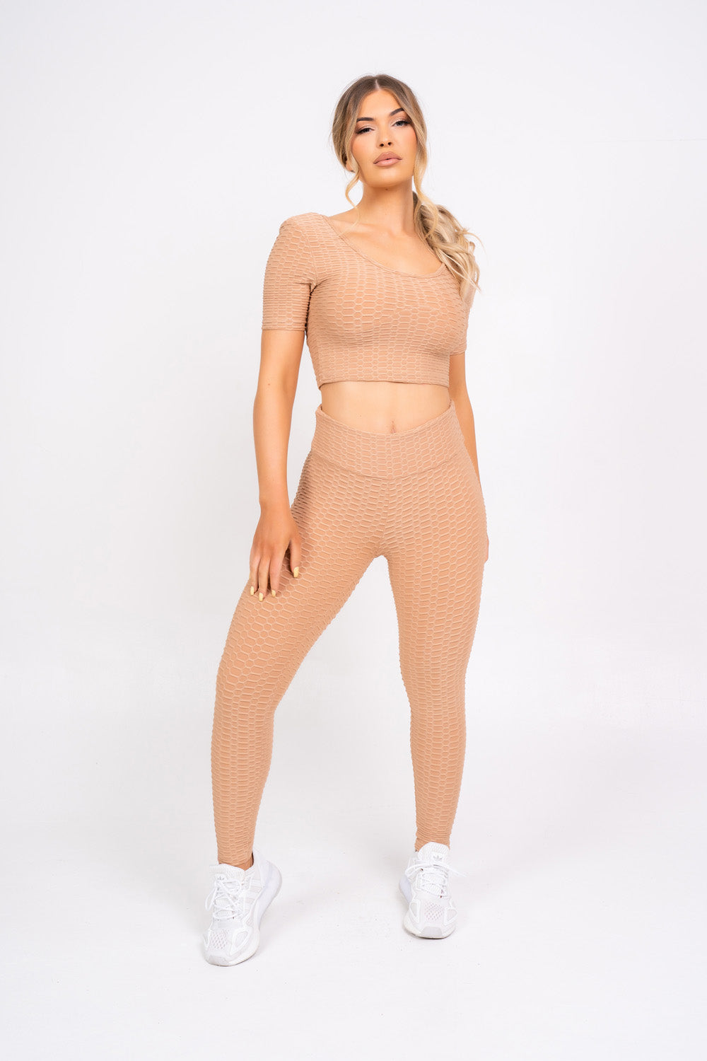 Dion Sand Honeycomb Sports Cropped Top & leggings Co-ord Fitness Set