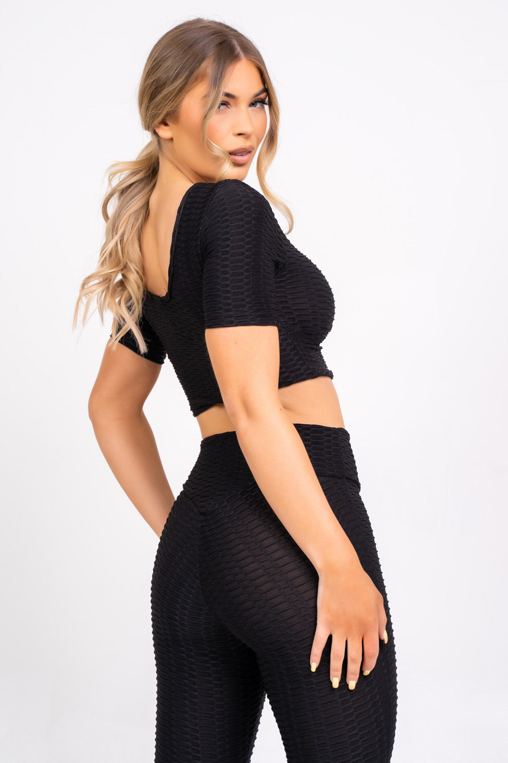 Dion Black Honeycomb Sports Cropped Top & leggings Co-ord Fitness Set
