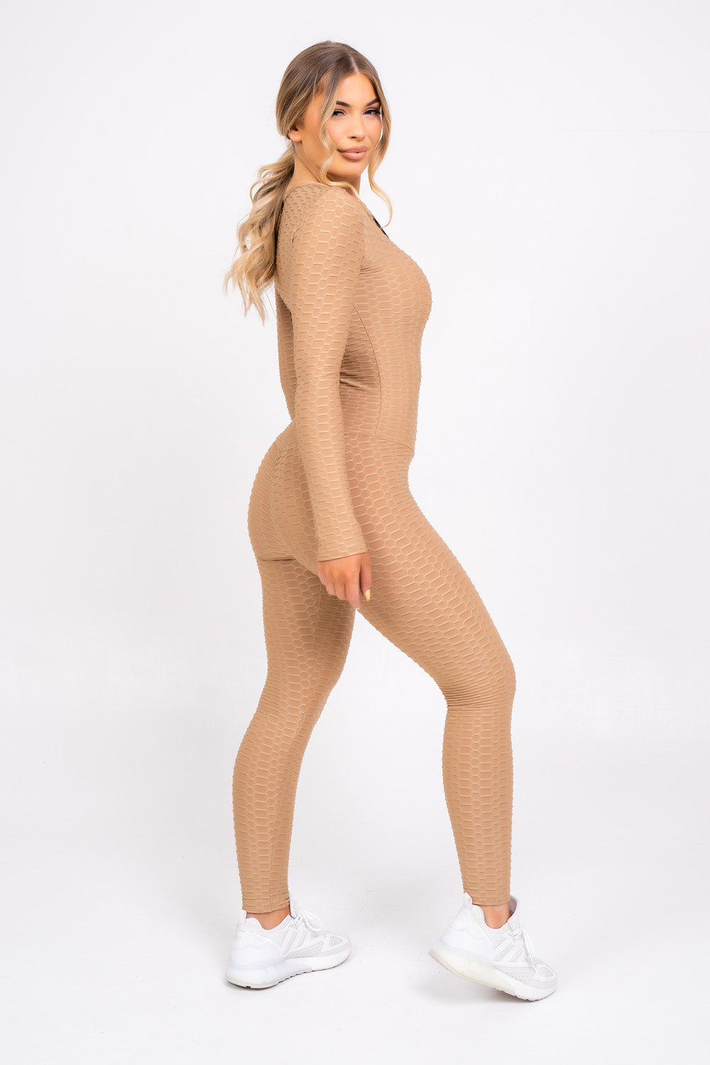 Cali Sand Honeycomb Contouring Push Up Jumpsuit Romper