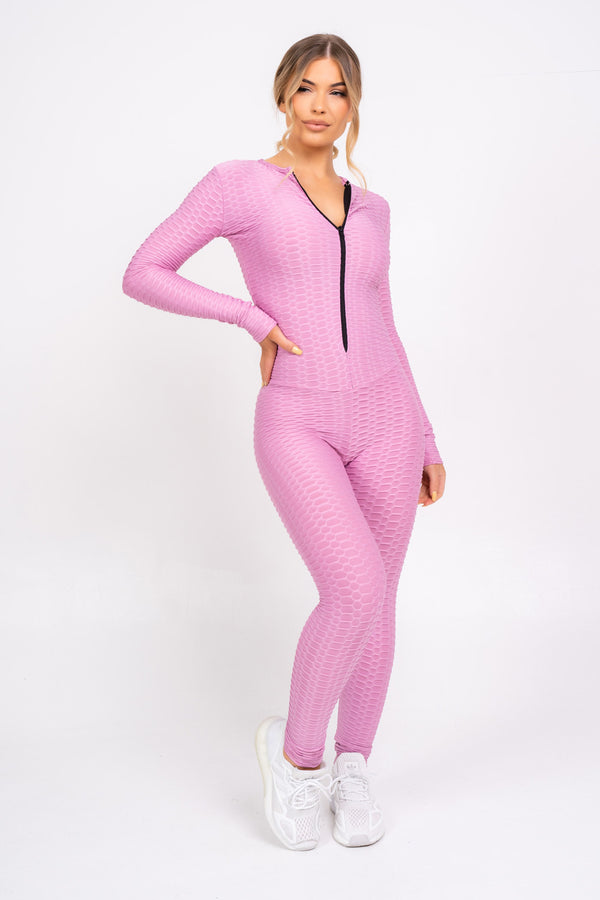 Cali Hot Pink Honeycomb Contouring Push Up Jumpsuit Romper