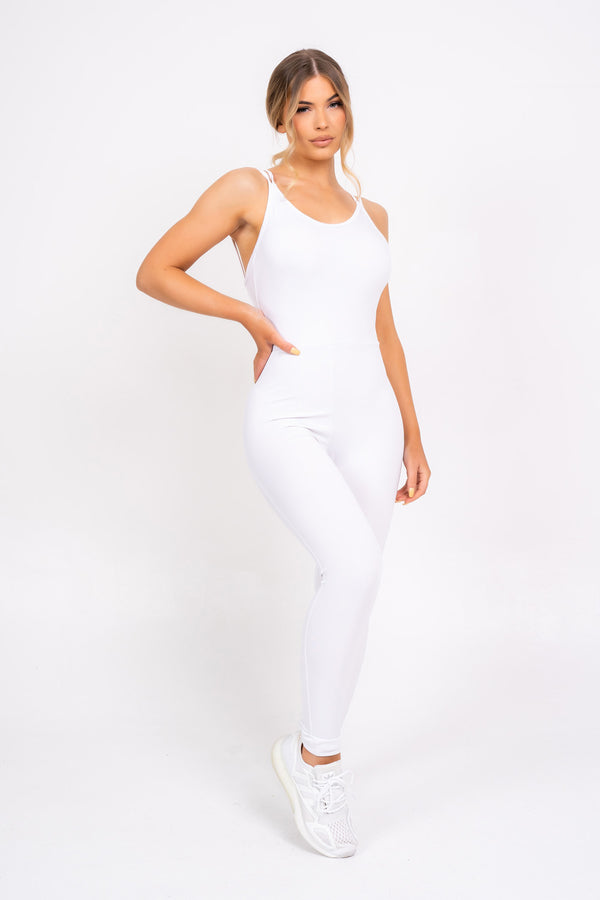 Back At You White Exposed Strappy Back Bodycon Jumpsuit Romper