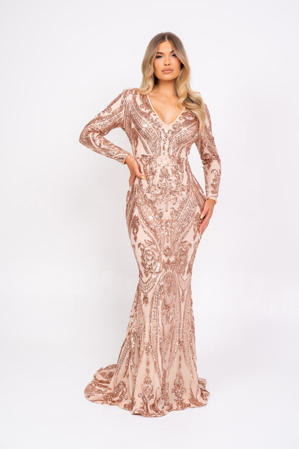 Arabella Rose Gold Luxe Tribal Vip Sequin Plunge Fishtail Dress