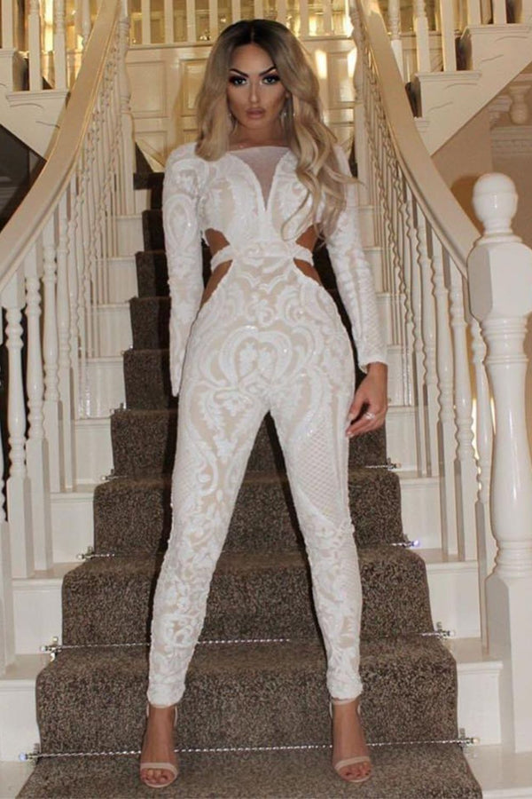 Toxic White Luxe Plunge Illusion Sequin Mesh Embellished Jumpsuit
