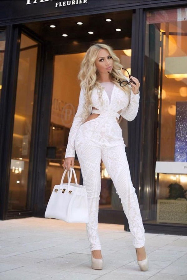toxic nazz collection white sequin embellished cut out long sleeve jumpsuit romper