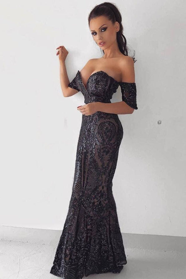 Lovestruck Black Luxe Sweetheart Off Shoulder Sequin Fishtail Dress
