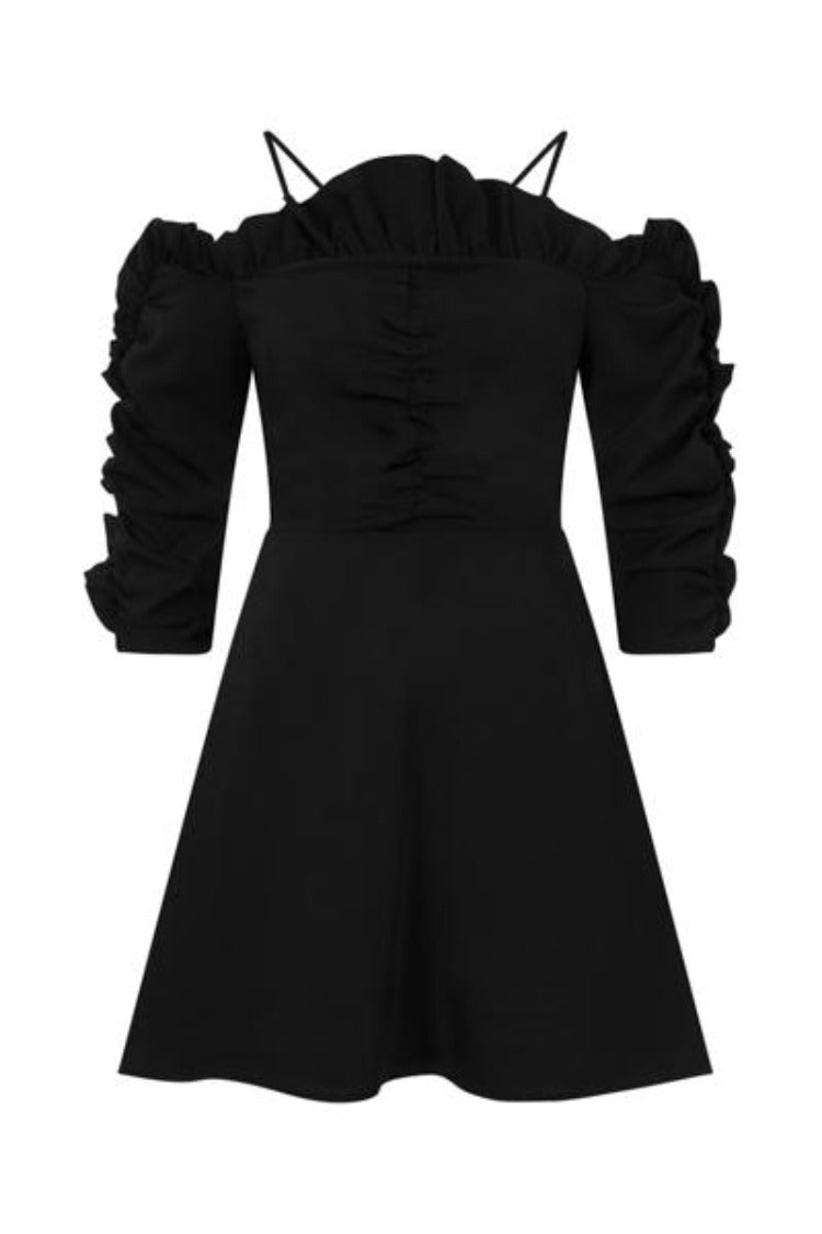 Tia Black Off Shoulder Ruffle Skater Dress