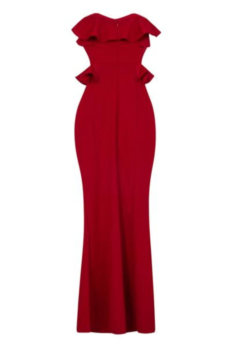 Paloma Red Strapless Frill Ruffle Bodycon Slinky Mermaid Maxi Dress