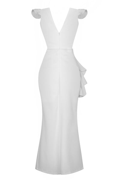 Chanel White V Plunge Peplum Frill Ruffle Slinky Mermaid Maxi Dress