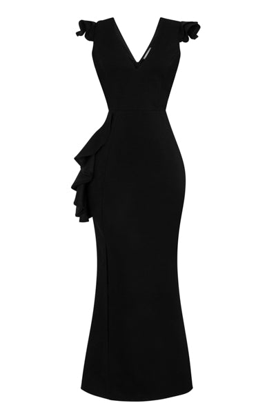 Chanel Black V Plunge Peplum Frill Ruffle Slinky Mermaid Maxi Dress