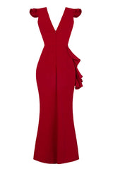 Chanel Red V Plunge Peplum Frill Ruffle Slinky Mermaid Maxi Dress