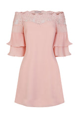 Get Flirty Blush Off Shoulder Ruffle & Frill Lace Bardot Dress
