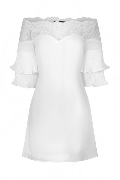 Get Flirty White Off Shoulder Ruffle & Frill Lace Bardot Dress