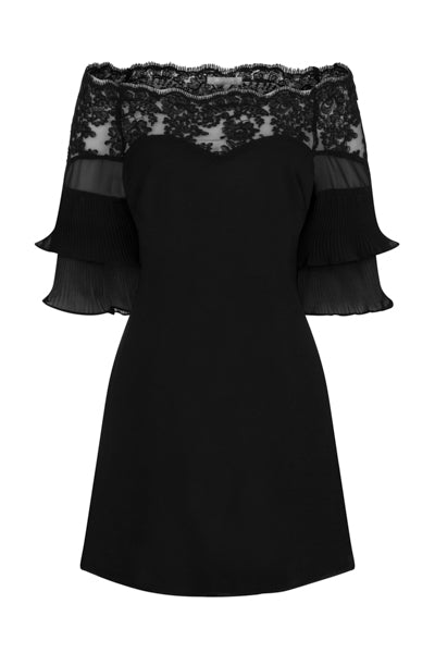 Get Flirty Black Off Shoulder Ruffle & Frill Lace Bardot Dress
