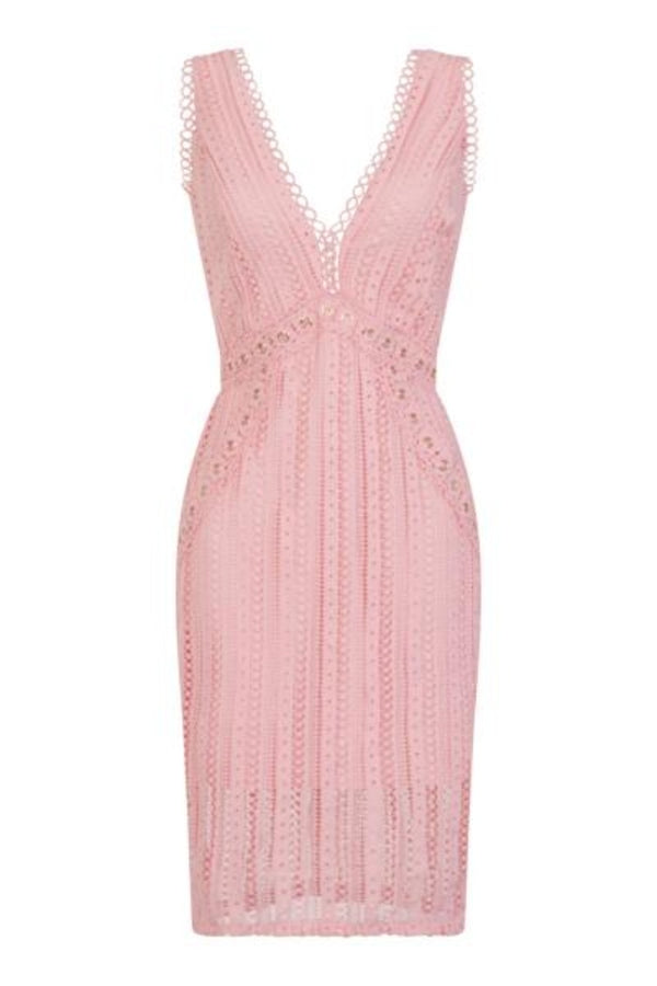 Rio Blush Pink Plunge Crochet Rivet Bodycon Midi Dress