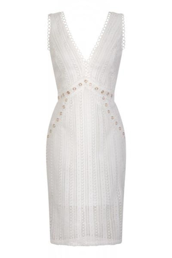 Rio White Plunge Crochet Rivet Bodycon Midi Dress